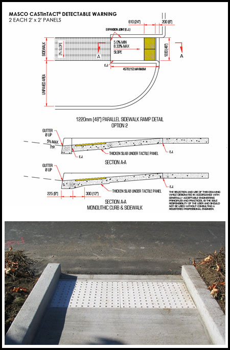 Parallel Sidewalk Ramp Detail - Option 2